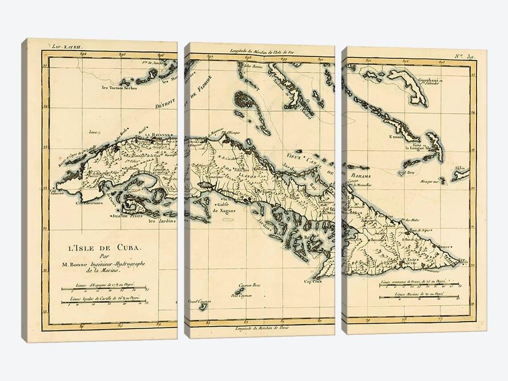 Cuba by Charles Marie Rigobert Bonne 3-piece Art Print