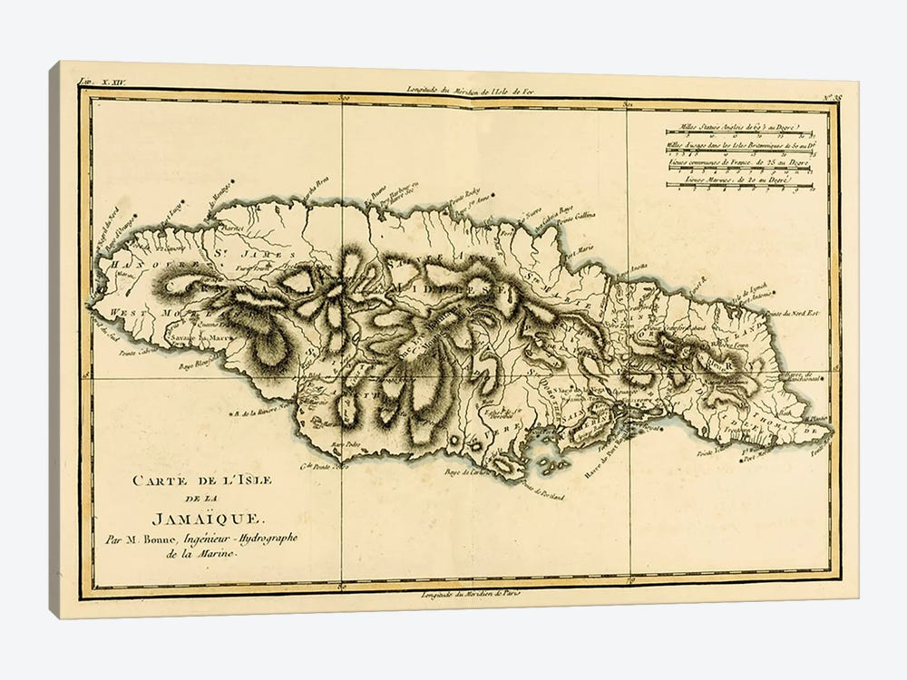 The Island of Jamaica by Charles Marie Rigobert Bonne 1-piece Canvas Wall Art