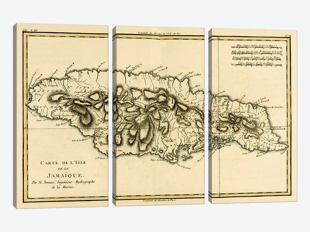 The Island of Jamaica by Charles Marie Rigobert Bonne 3-piece Canvas Wall Art