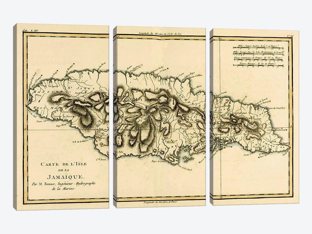 The Island of Jamaica by Charles Marie Rigobert Bonne 3-piece Canvas Wall Art