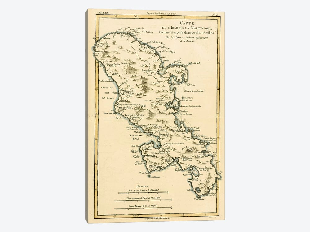 The Island of Martinique by Charles Marie Rigobert Bonne 1-piece Canvas Print