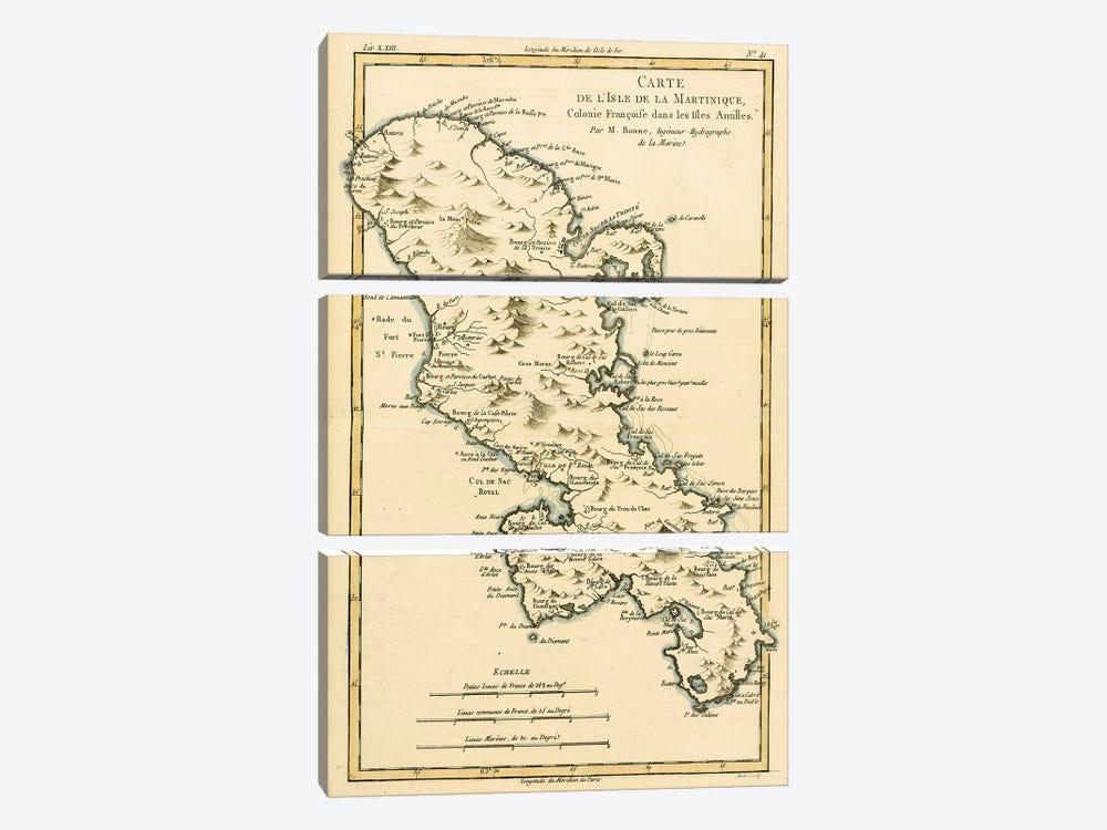 The Island of Martinique by Charles Marie Rigobert Bonne 3-piece Canvas Art Print
