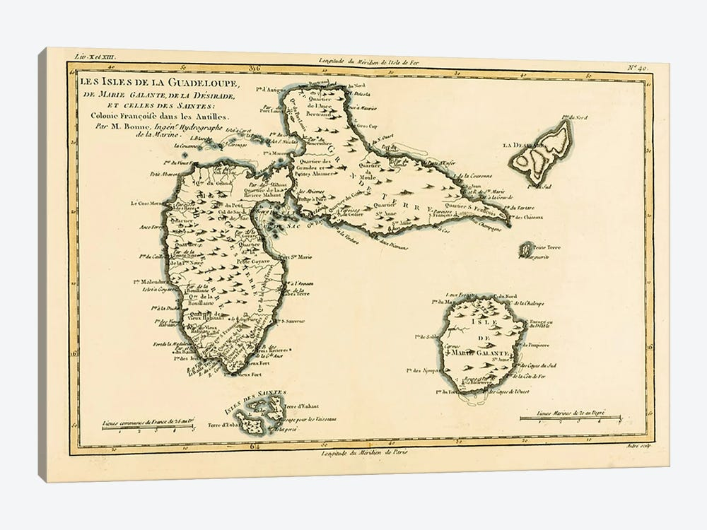 The Islands of Guadeloupe, Marie-Galante, La Desirade, and the Isles des Saintes, French colonies in the Antilles by Charles Marie Rigobert Bonne 1-piece Canvas Art