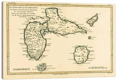 The Islands of Guadeloupe, Marie-Galante, La Desirade, and the Isles des Saintes, French colonies in the Antilles Canvas Art Print