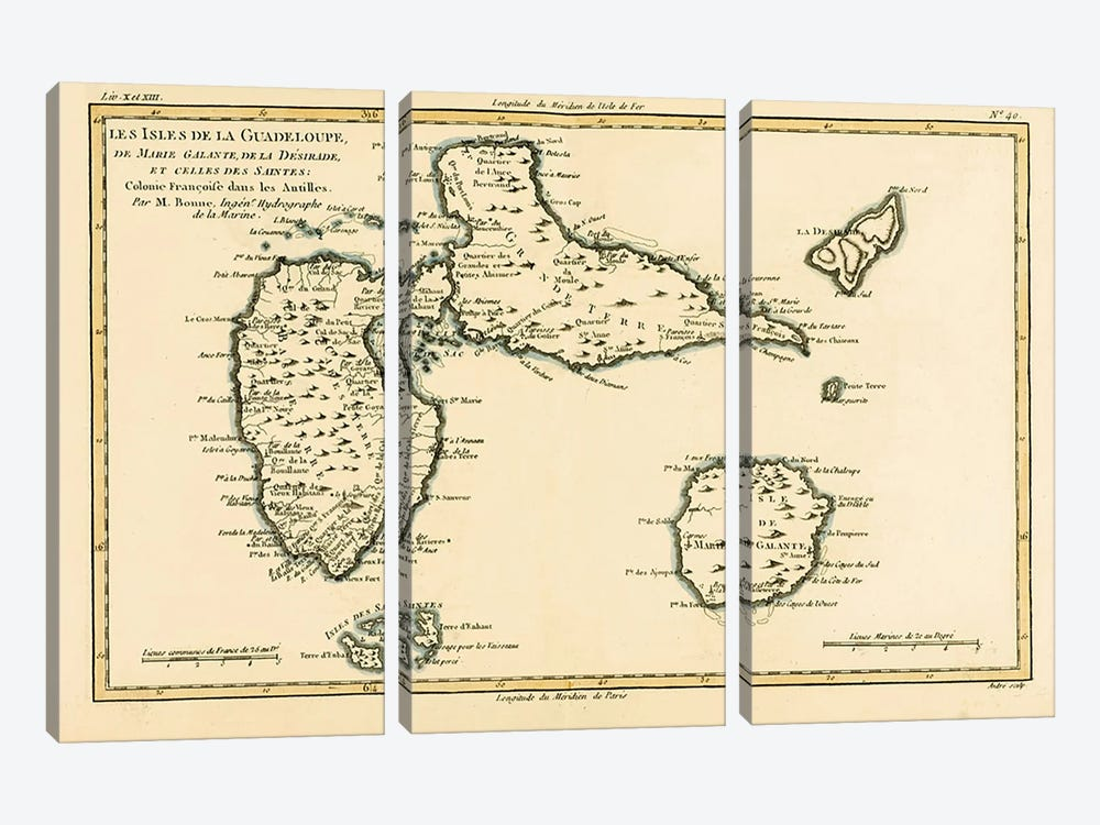 The Islands of Guadeloupe, Marie-Galante, La Desirade, and the Isles des Saintes, French colonies in the Antilles by Charles Marie Rigobert Bonne 3-piece Canvas Artwork