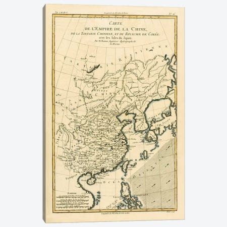 The Chinese Empire, Chinese Tartary and the Kingdom of Korea, with the Islands of Japan Canvas Print #BMN4885} by Charles Marie Rigobert Bonne Canvas Art Print