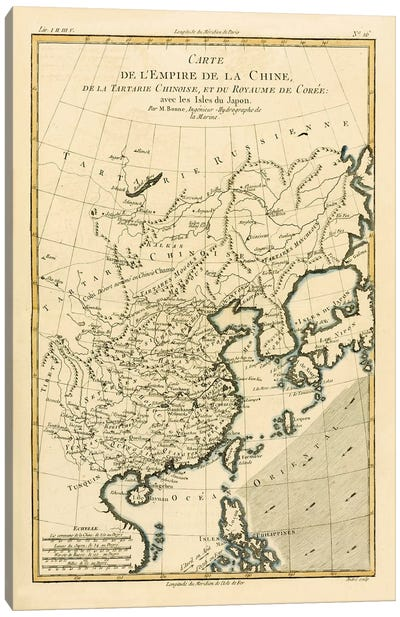 The Chinese Empire, Chinese Tartary and the Kingdom of Korea, with the Islands of Japan Canvas Print #BMN4885