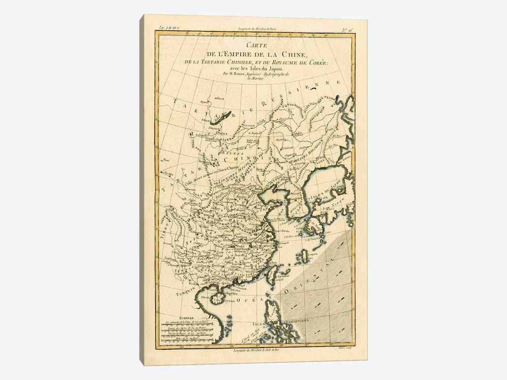 The Chinese Empire, Chinese Tartary and the Kingdom of Korea, with the Islands of Japan by Charles Marie Rigobert Bonne 1-piece Canvas Print
