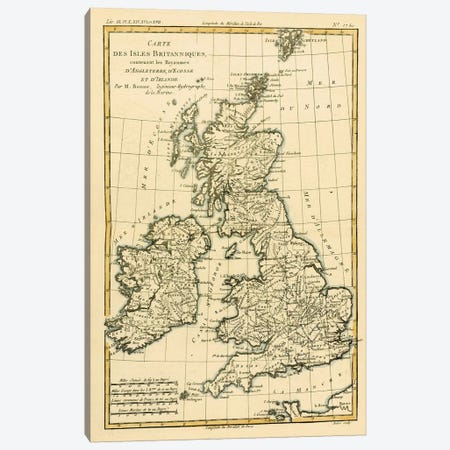 The British Isles, Including the Kingdoms of England, Scotland and Ireland Canvas Print #BMN4887} by Charles Marie Rigobert Bonne Art Print