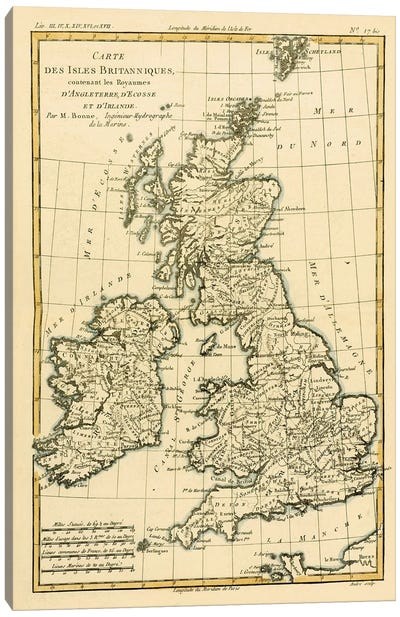 The British Isles, Including the Kingdoms of England, Scotland and Ireland Canvas Art Print