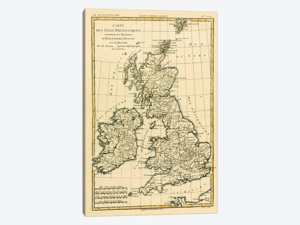 The British Isles, Including the Kingdoms of England, Scotland and Ireland by Charles Marie Rigobert Bonne 1-piece Art Print