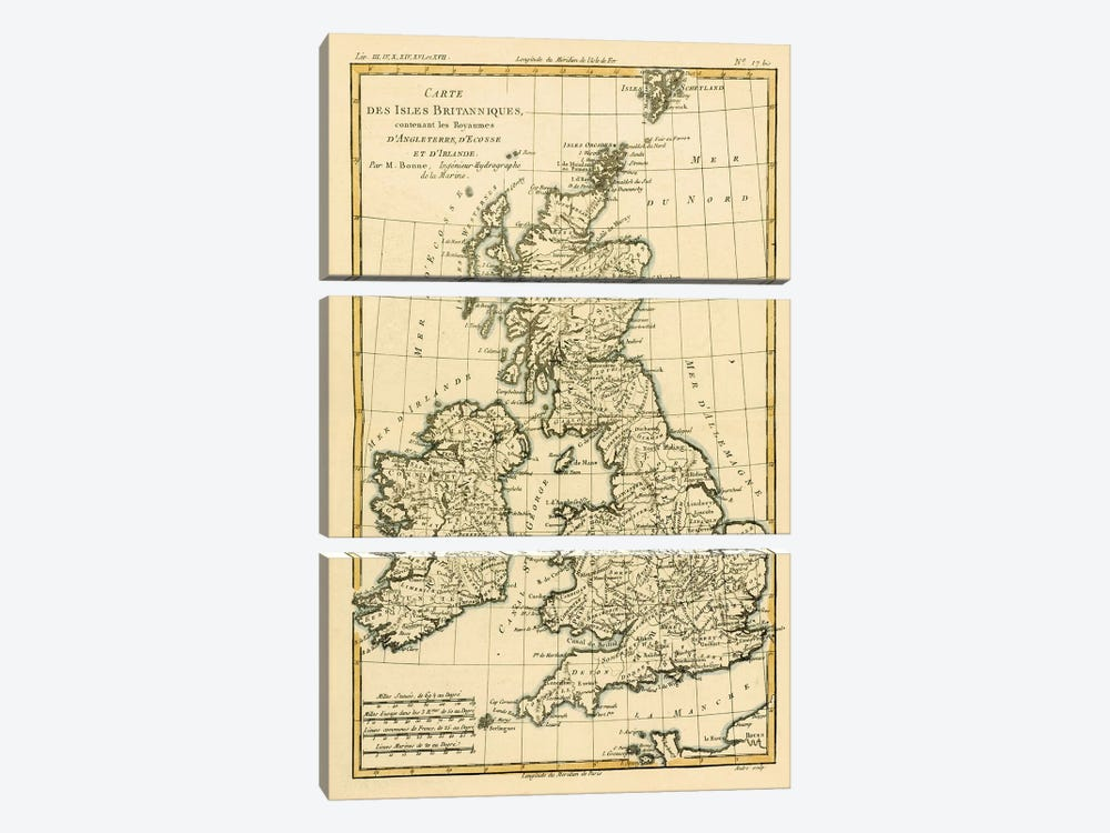 The British Isles, Including the Kingdoms of England, Scotland and Ireland by Charles Marie Rigobert Bonne 3-piece Art Print