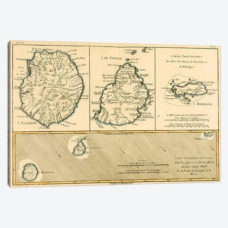 The Islands of Rodriguez, Isle de France and Bourbon Canvas Print #BMN4888} by Charles Marie Rigobert Bonne Canvas Wall Art