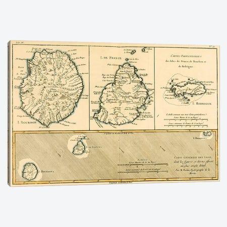The Islands of Rodriguez, Isle de France and Bourbon Canvas Print #BMN4888} by Charles Marie Rigobert Bonne Canvas Wall Art