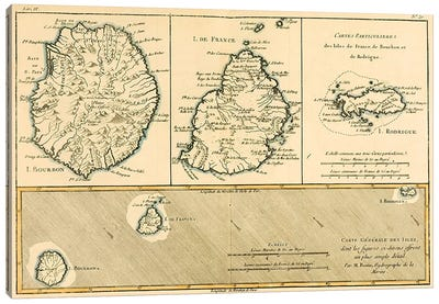 The Islands of Rodriguez, Isle de France and Bourbon Canvas Art Print