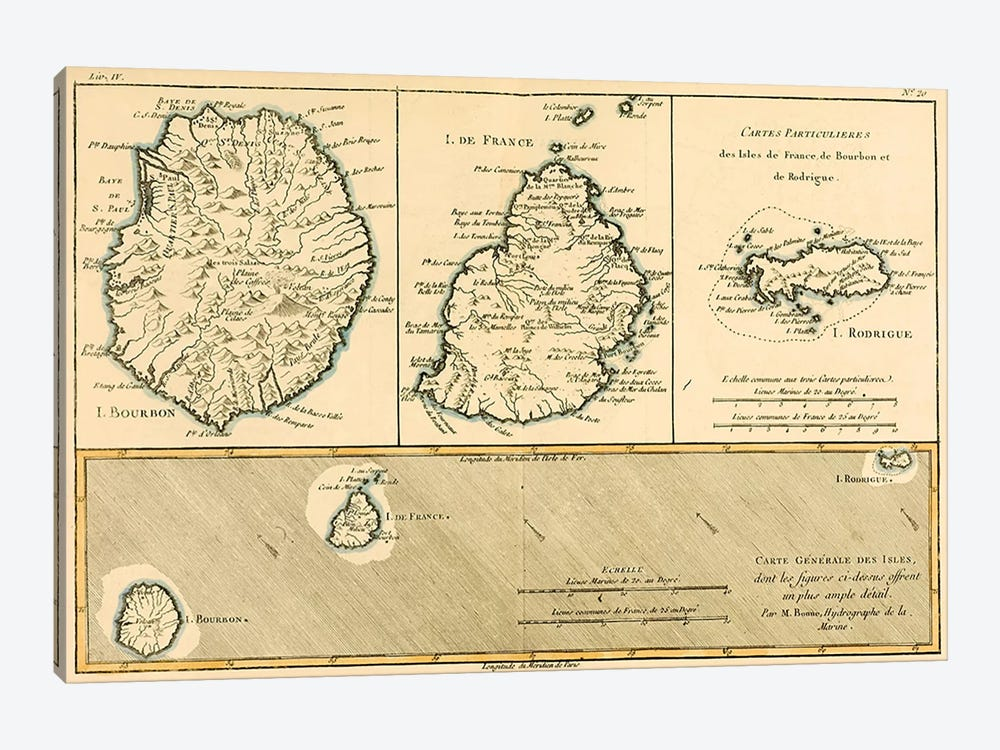 The Islands of Rodriguez, Isle de France and Bourbon by Charles Marie Rigobert Bonne 1-piece Canvas Wall Art