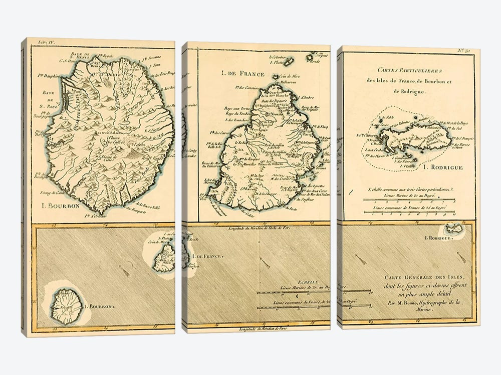 The Islands of Rodriguez, Isle de France and Bourbon by Charles Marie Rigobert Bonne 3-piece Canvas Wall Art