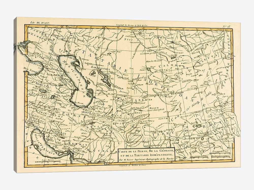 Persia, Georgia and Independent Tartary by Charles Marie Rigobert Bonne 1-piece Canvas Print
