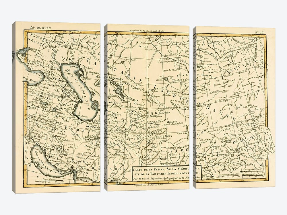 Persia, Georgia and Independent Tartary by Charles Marie Rigobert Bonne 3-piece Canvas Art Print