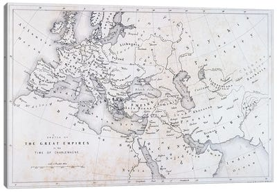 The Great Empires in the Time of Charlemagne, c.1850  Canvas Art Print