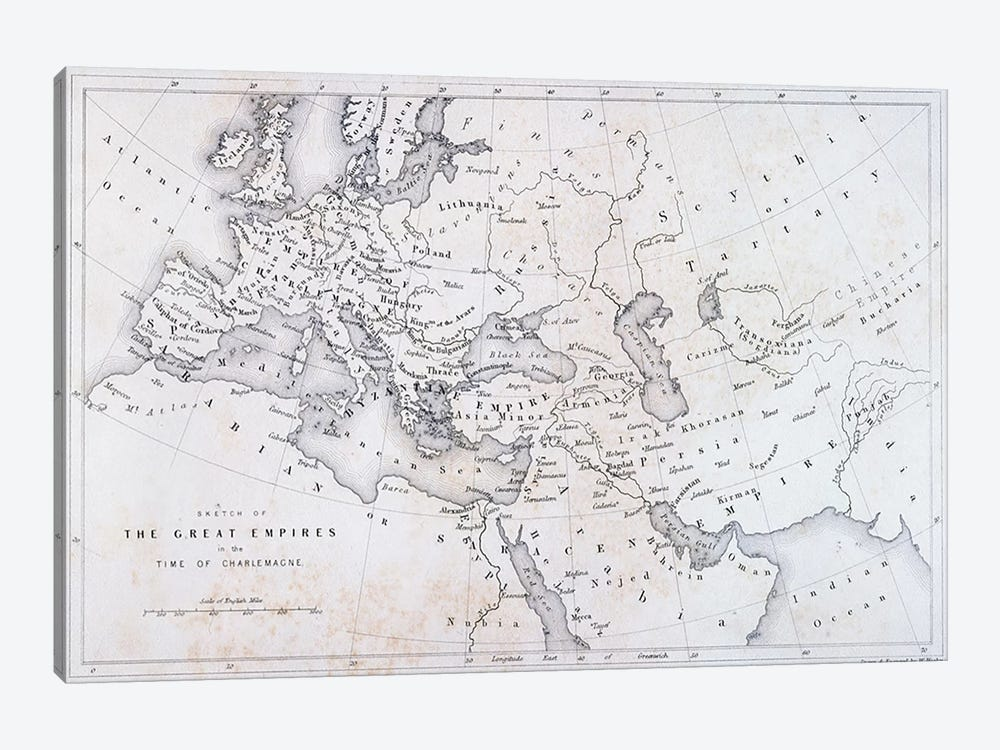The Great Empires in the Time of Charlemagne, c.1850  by W Hughes 1-piece Canvas Print