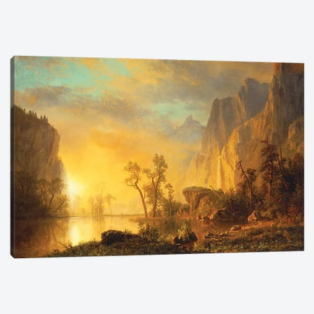 Sunset in the Rockies  Canvas Print #BMN4896} by Albert Bierstadt Canvas Artwork