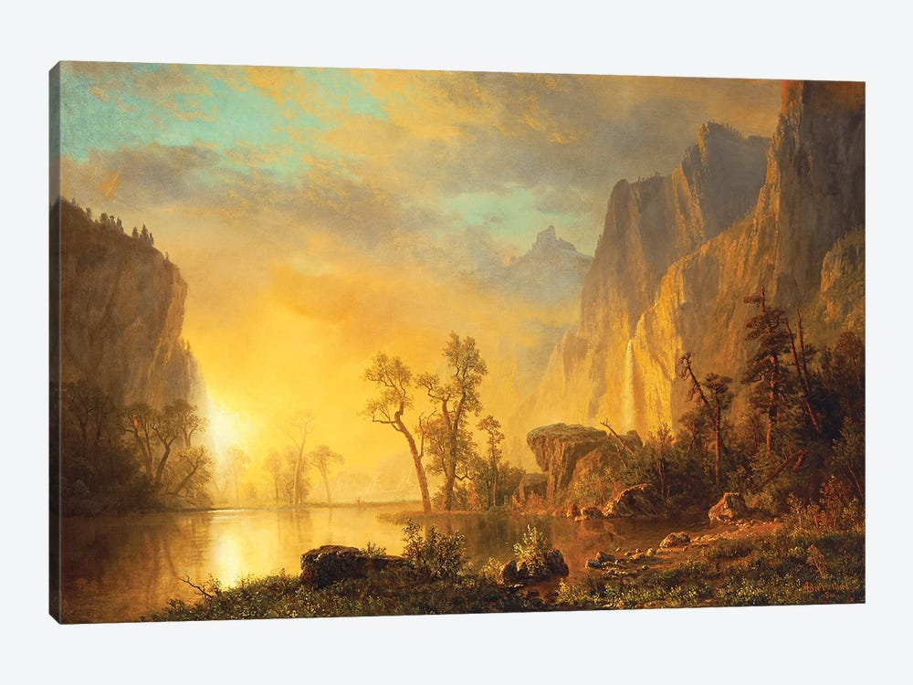 Sunset in the Rockies  by Albert Bierstadt 1-piece Art Print
