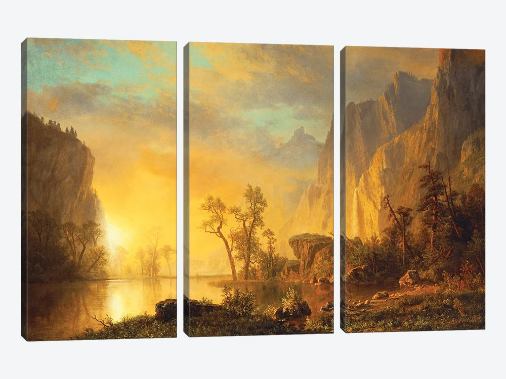 Sunset in the Rockies  by Albert Bierstadt 3-piece Canvas Print