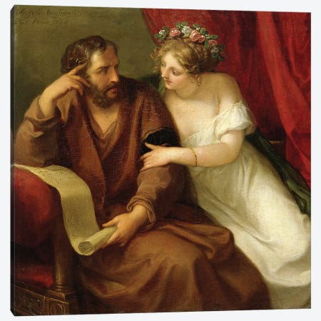 Phryne Seducing The Philosopher Xenokrates, 1794 Canvas Print #BMN4899} by Angelica Kauffmann Canvas Print