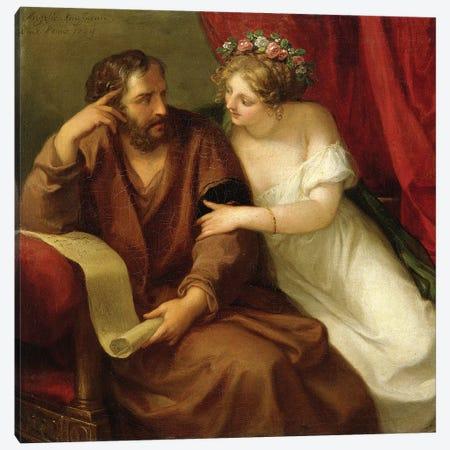 Phryne Seducing The Philosopher Xenokrates, 1794 Canvas Print #BMN4899} by Angelica Kauffmann Canvas Print