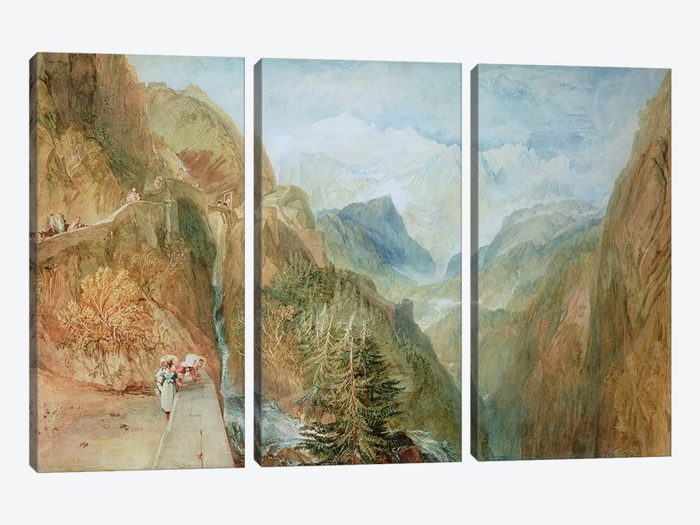 Mont Blanc from Fort Rock in Val D'Aosta, c.1810 by J.M.W Turner 3-piece Canvas Print