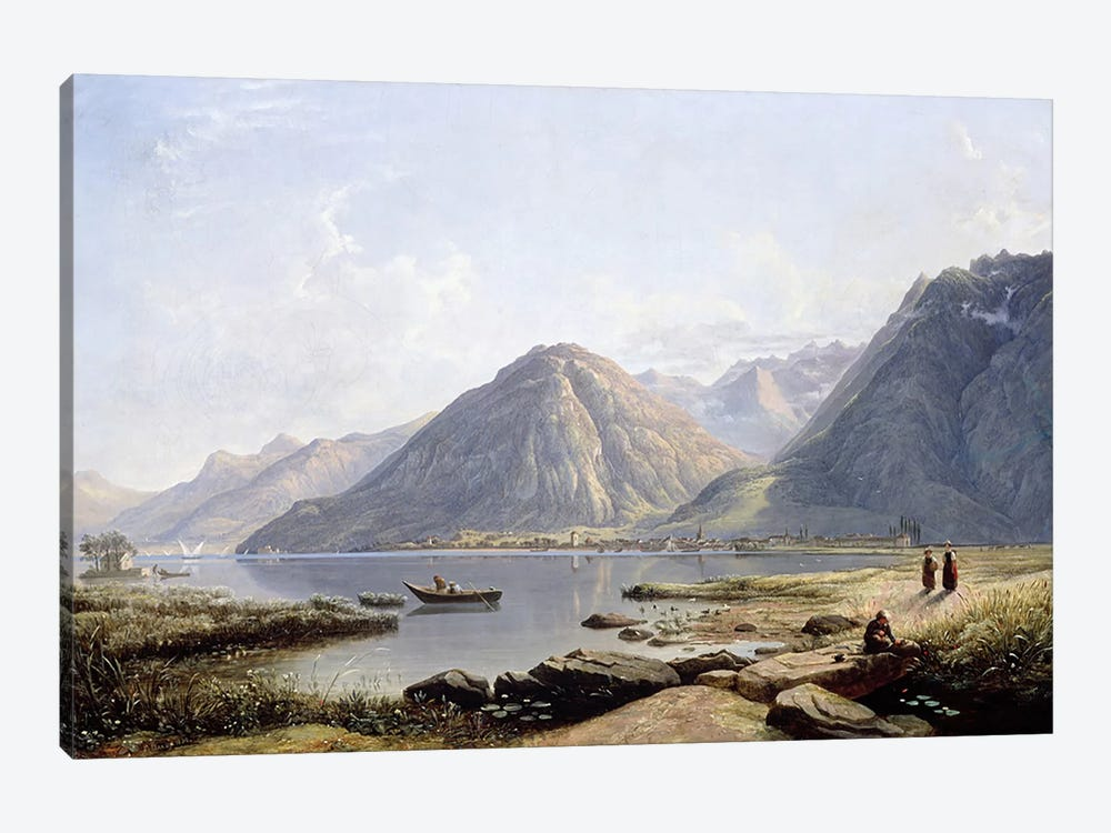 View of Lake Geneva with the Town of Villeneuve, 1836 by Francis Danby 1-piece Canvas Art