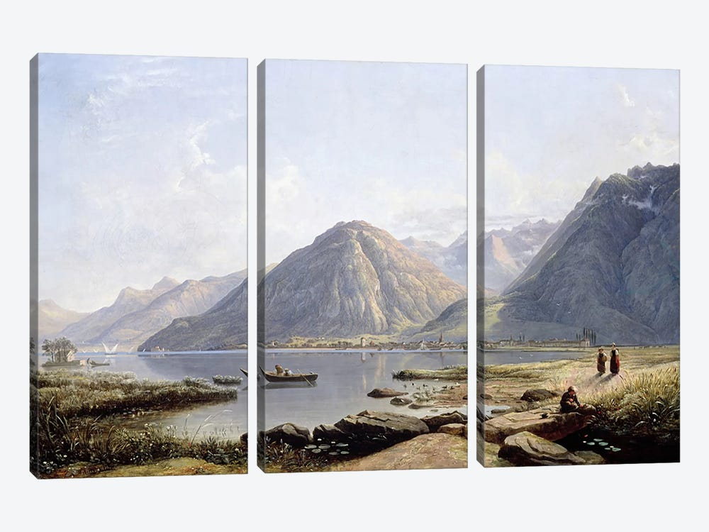 View of Lake Geneva with the Town of Villeneuve, 1836 3-piece Canvas Art