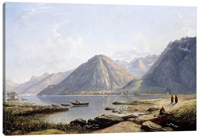 View of Lake Geneva with the Town of Villeneuve, 1836  Canvas Art Print