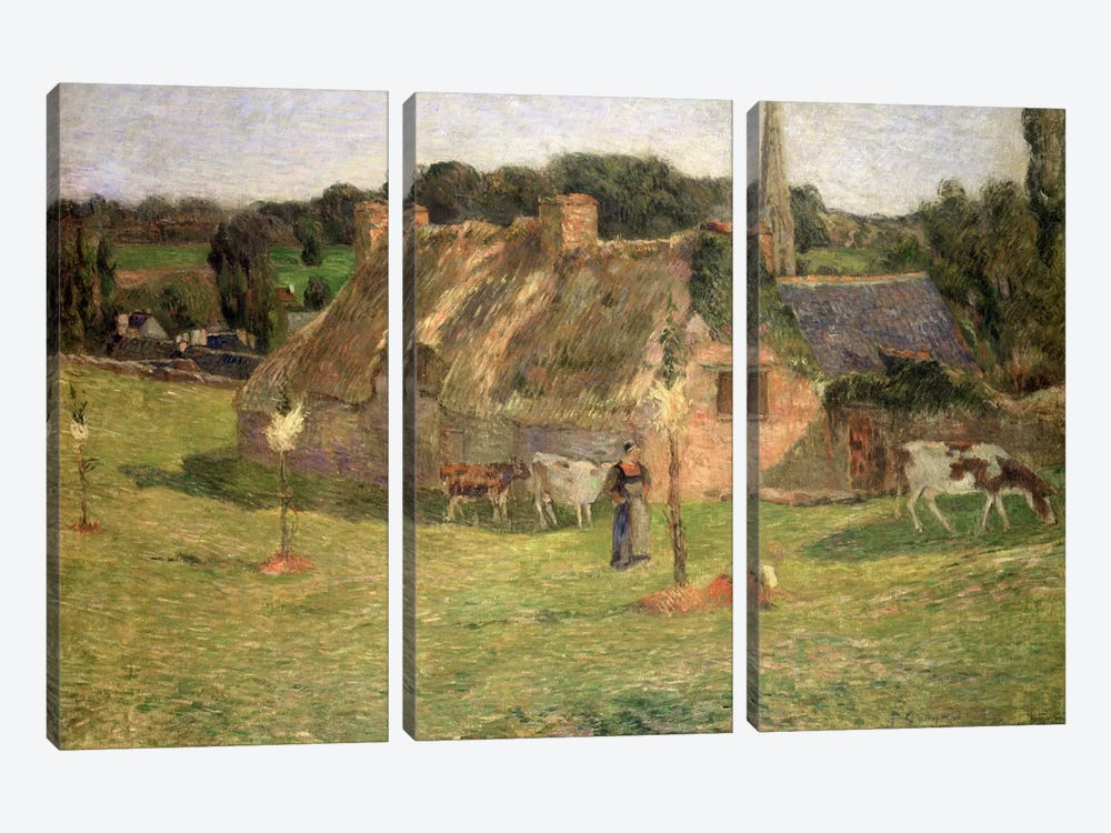 Lollichon's Field and the Church of Pont-Aven, 1886  by Paul Gauguin 3-piece Canvas Artwork