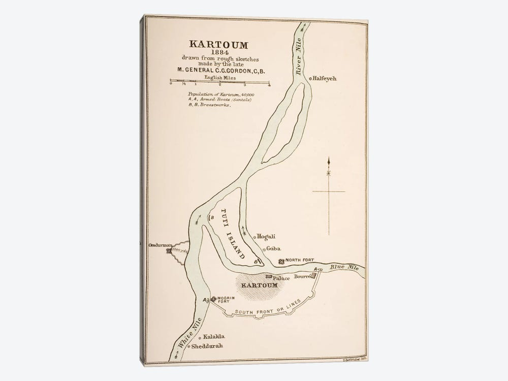 Kartoum, Sudan, 1884, from `The Journals of Major-General C.G. Gordon, C.B. at Kartoum', published by Kegan Paul Trench & Co., L by General Charles Gordon 1-piece Canvas Artwork