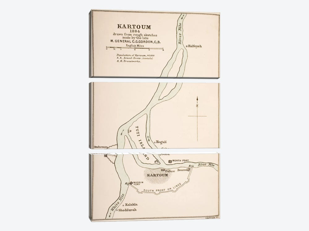 Kartoum, Sudan, 1884, from `The Journals of Major-General C.G. Gordon, C.B. at Kartoum', published by Kegan Paul Trench & Co., L by General Charles Gordon 3-piece Canvas Art