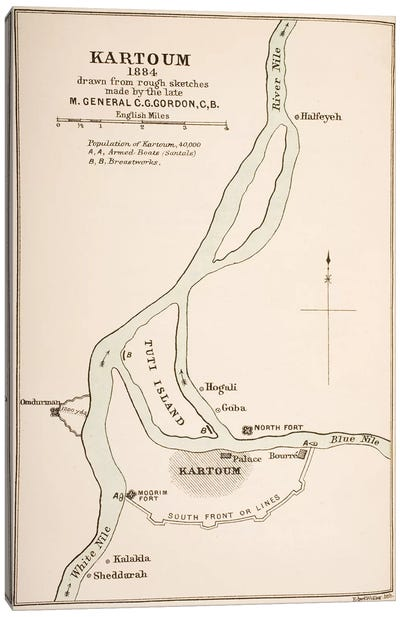 Kartoum, Sudan, 1884, From The Journals of Major-General C.G. Gordon Canvas Art Print