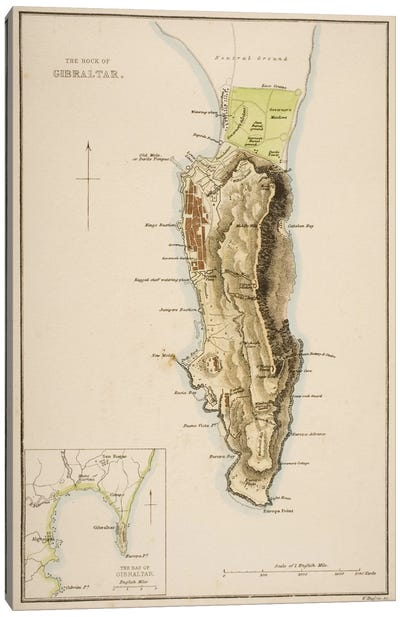 The Rock of Gibraltar  Canvas Art Print