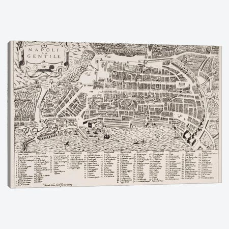 Map of Naples, c.1600  Canvas Print #BMN4920} by Italian School Canvas Print