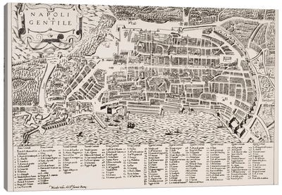 Map of Naples, c.1600  Canvas Art Print