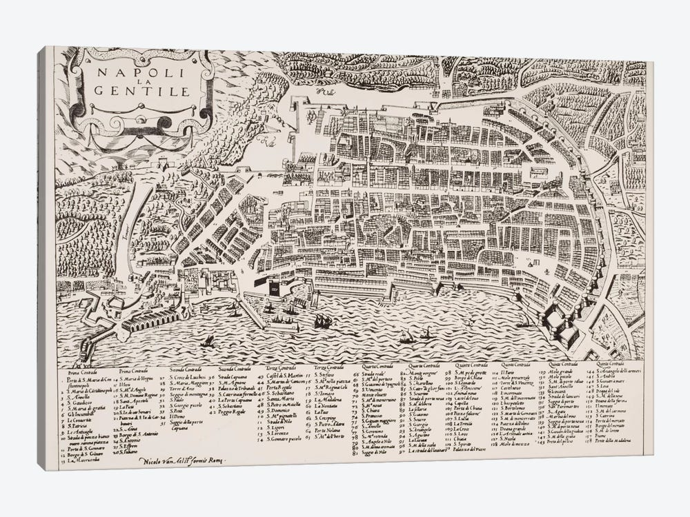 Map of Naples, c.1600 by Italian School 1-piece Art Print