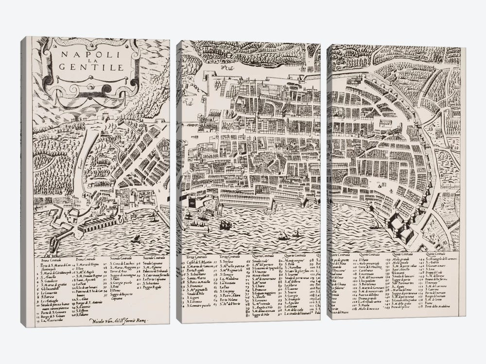 Map of Naples, c.1600 by Italian School 3-piece Canvas Print