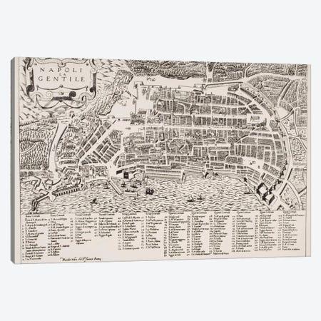 Map of Naples, c.1600  Canvas Print #BMN4920} by Italian School Canvas Print