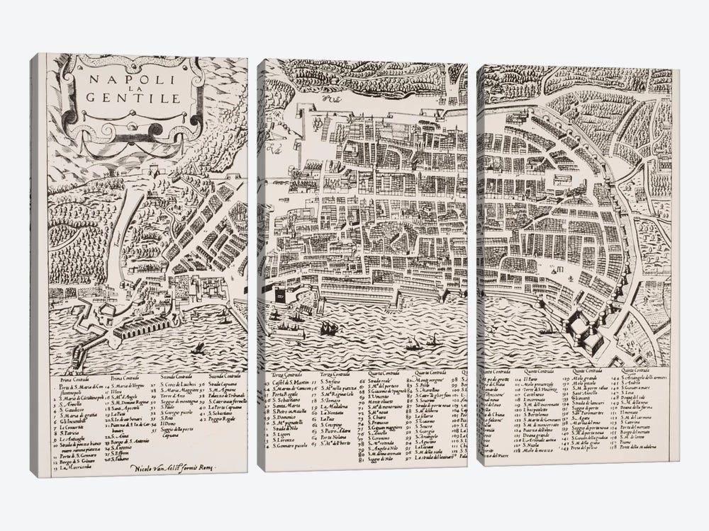 Map of Naples, c.1600  by Italian School 3-piece Canvas Print