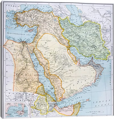 Map of Turkey, Middle East Horn of Africa and Persian Gulf in the 1890s, from 'The Citizen's Atlas of the World', published in L Canvas Art Print