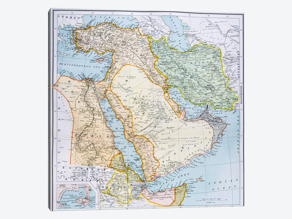Map Of Turkey, Middle East And Horn of Africa, The Citizen's Atlas of the World, c.1899  by English School 1-piece Canvas Art