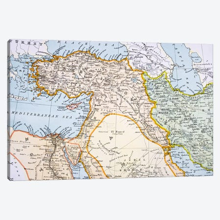 Partial Map of Middle East in the 1890s, from 'The Citizen's Atlas of the World', published in London, c.1899  Canvas Print #BMN4928} by English School Art Print