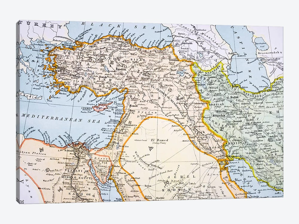 Partial Map of Middle East in the 1890s, from 'The Citizen's Atlas of the World', published in London, c.1899  by English School 1-piece Art Print