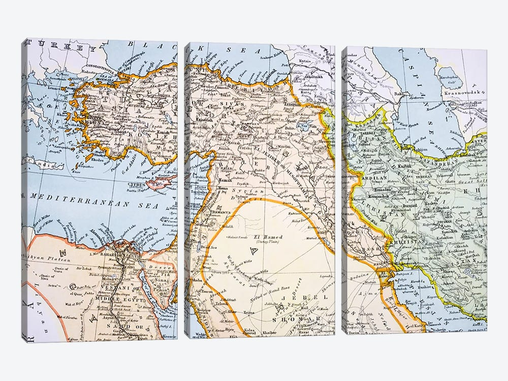 Partial Map of Middle East in the 1890s, from 'The Citizen's Atlas of the World', published in London, c.1899  by English School 3-piece Canvas Print